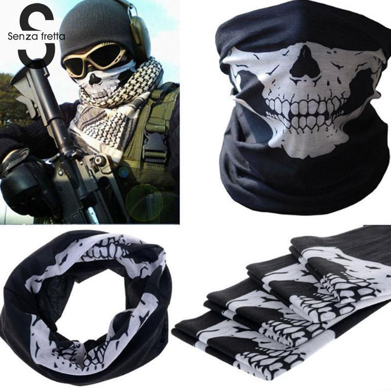 Hot Sale Multi Function Ski Sports Motorcycle Biker Scarf Men Women Cool Skull Design Adults Half Face Mask Sports Headband