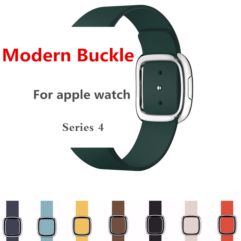 CRESTED Modern buckle for apple watch band 4 44mm 40mm Leather bracelet iwatch 4 3 2 1 42mm 38mm wrist belt watch accessories
