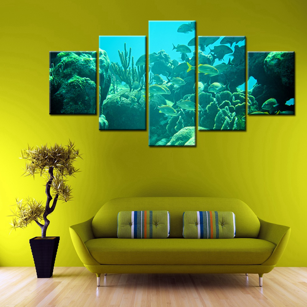 Seascape Colorful Coral Reefs Deep sea Fish 5 Panels Picture Print ...
