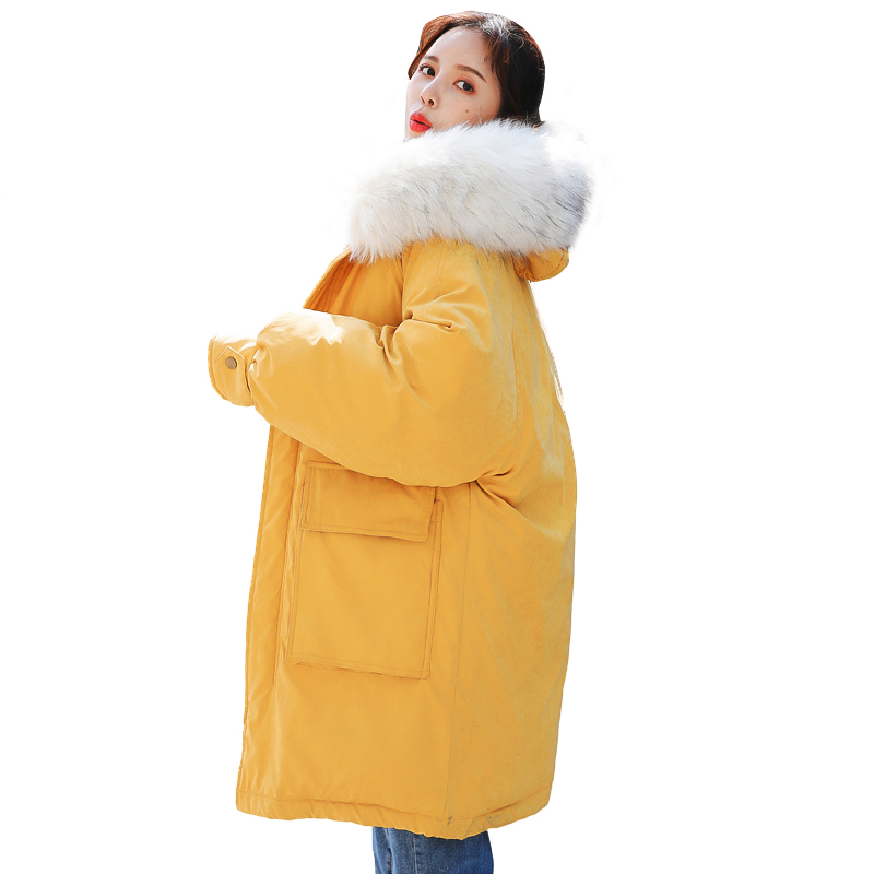 2018 Winter Down Cotton Jacket Women Long Coat Warm Parkas Thick Female Warm Clothes  Fur Collar High Quality