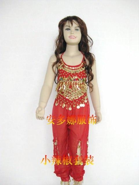 Танец живота костюм комплект Топ и Штаны Fit Детская высота 90-130 см, дети От 6 до 13 лет 6 видов цветов Выберите - Цвет: Red