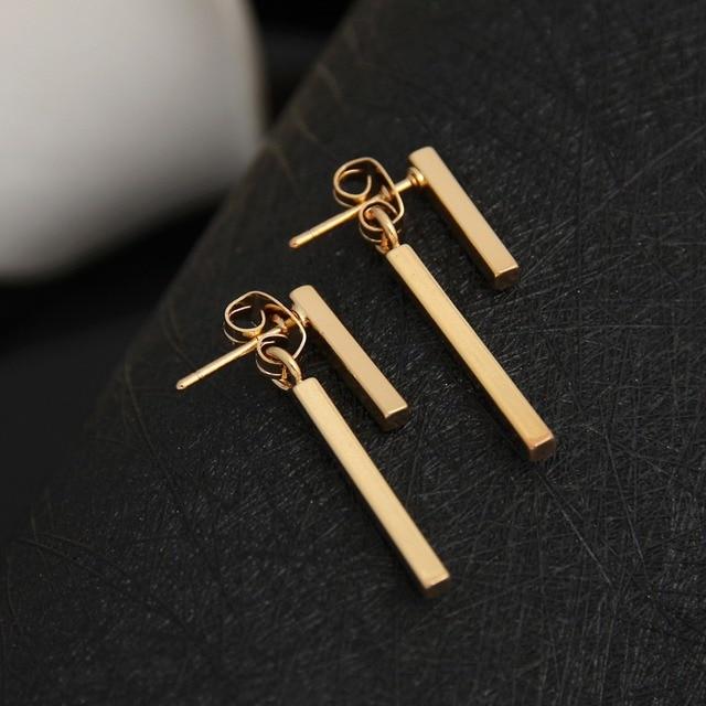 Shuangshuo 2017 Personalized New Fashion Earrings Brinco Simple T Bar Stud Earrings Jewelry for Women Korean Mariage Gifts