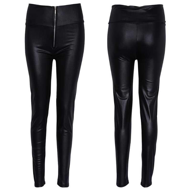 afce11cdb6a06 Women High Waisted Zipper Pencil Pants Black Faux Leather Legging with  Zipper