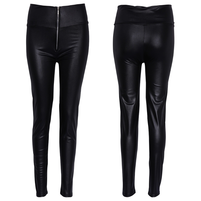 Women High Waisted Zipper Pencil Pants Black Faux Leather Legging With Zipper