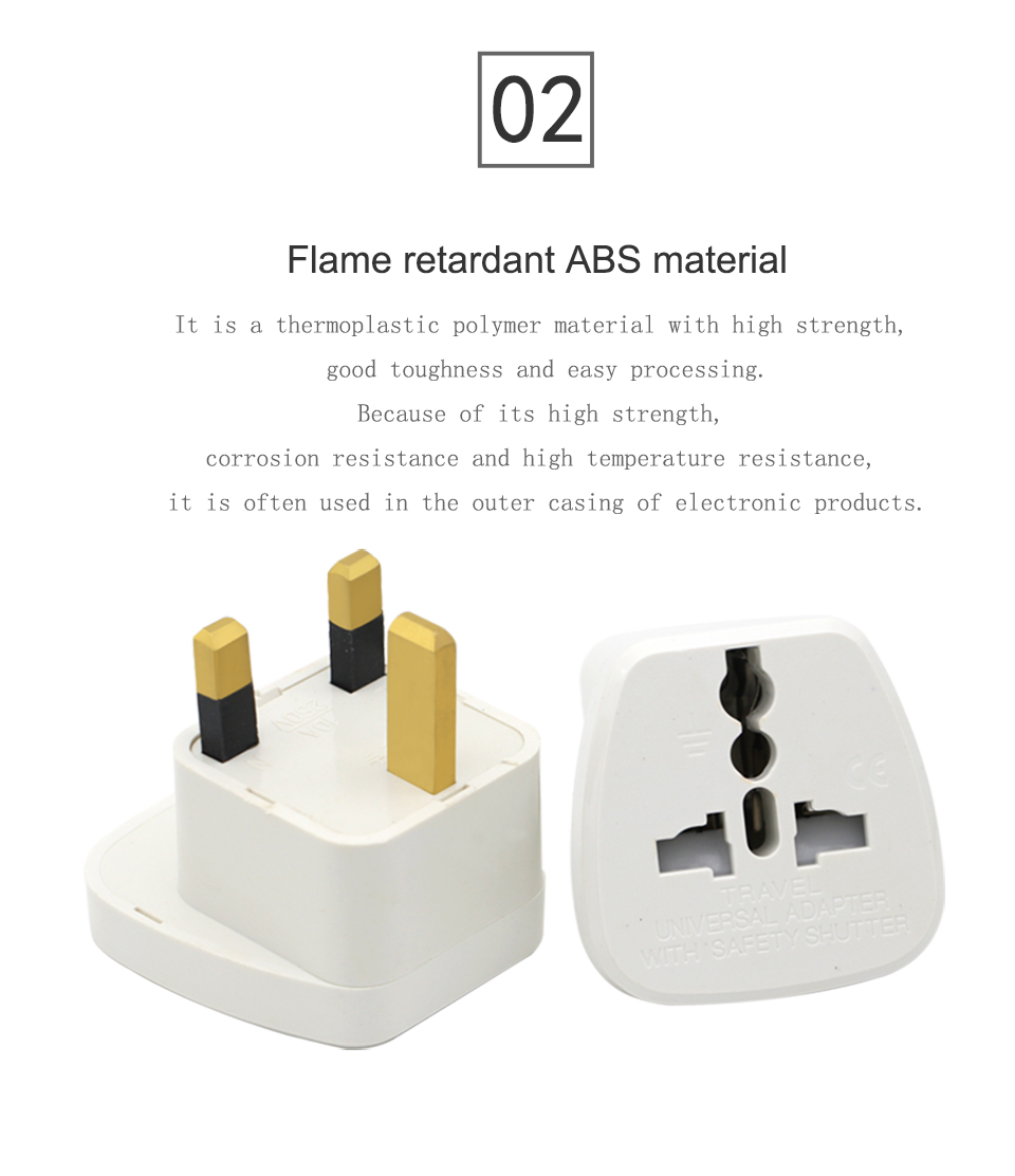 Universal EU US AU to UK AC Power Socket Plug Travel Charger Adapter Converter White ABS Electric Plugs For Mobile Phone Laptop (7)