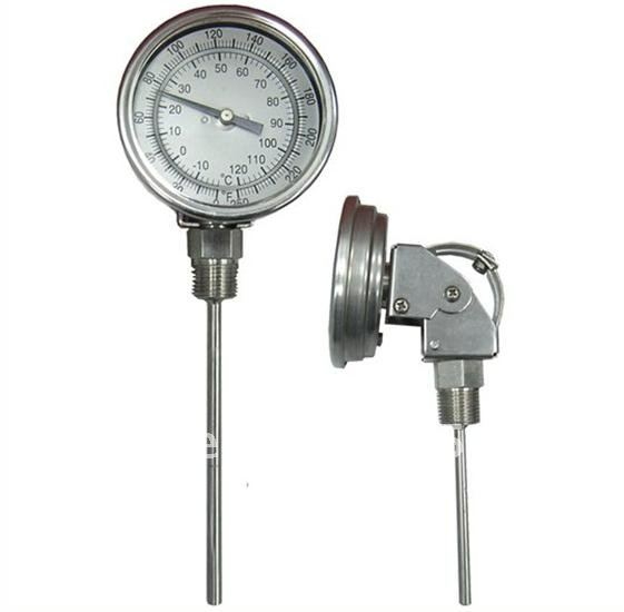 bimetal thermometer, industrial thermometer, SS 304 case,type:,every-angle, best price ,good quality remote bimetal thermometer with capillary dial 3