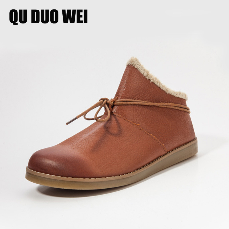 QUDUOWEI Women's Snow Boots Genuine Leather Ankle Boots Round Toe Lace Up Woman Flat Shoes Female Warm Autumn/Winter Footwear women s boots genuine leather ankle boots round toe lace up woman casual shoes with without fur autumn winter boots 568 6