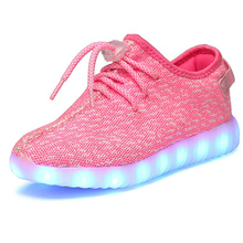 New Arrival Breathable Mesh Shoes With Lights For Kids USB Charging Led Light Up Shoes Boys Girls Yeezy Shoe Glowing Sneakers