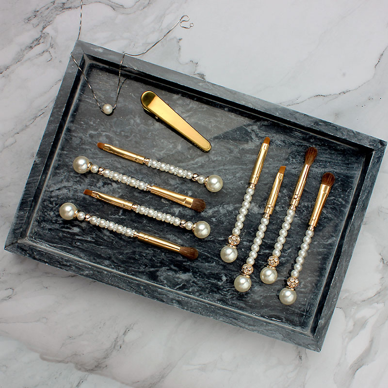 Pinceau à maquillage es Perle Cristal Strass Or 12 PC make up kits de pinceaux professionnel pinceau à maquillage ensemble Pincel Maquiagem Beauté Outil