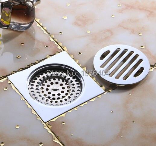 sanitary ware bathroom accessories chrome brass shower drain anti odor 4 square carved drain