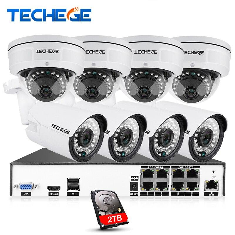 Techege H.265 8CH CCTV Système 4MP POE NVR 4.0MP IP Caméra Dôme Anti-Vandalisme Caméra de Vision Nocturne Vidéo Surveillance Système