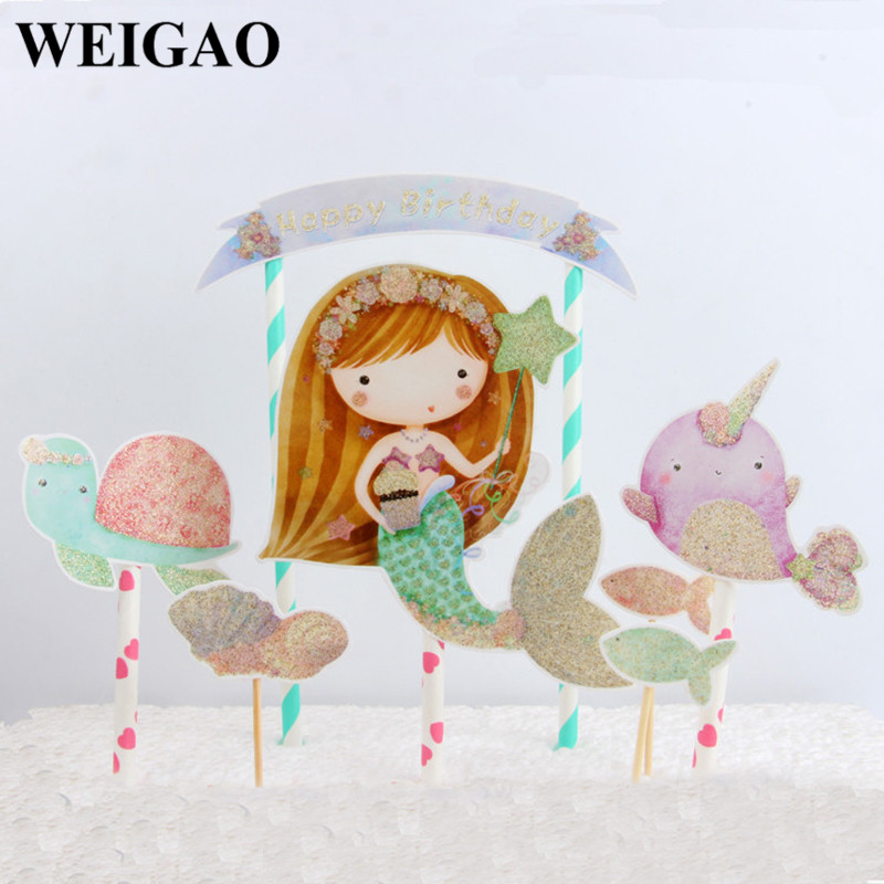 WEIGAO 1Set Happy Birthday Party Decorations Mermaid Cartoon Cake Toppers Cupcake Decor Baby Shower DIY Party Supplies For Cake