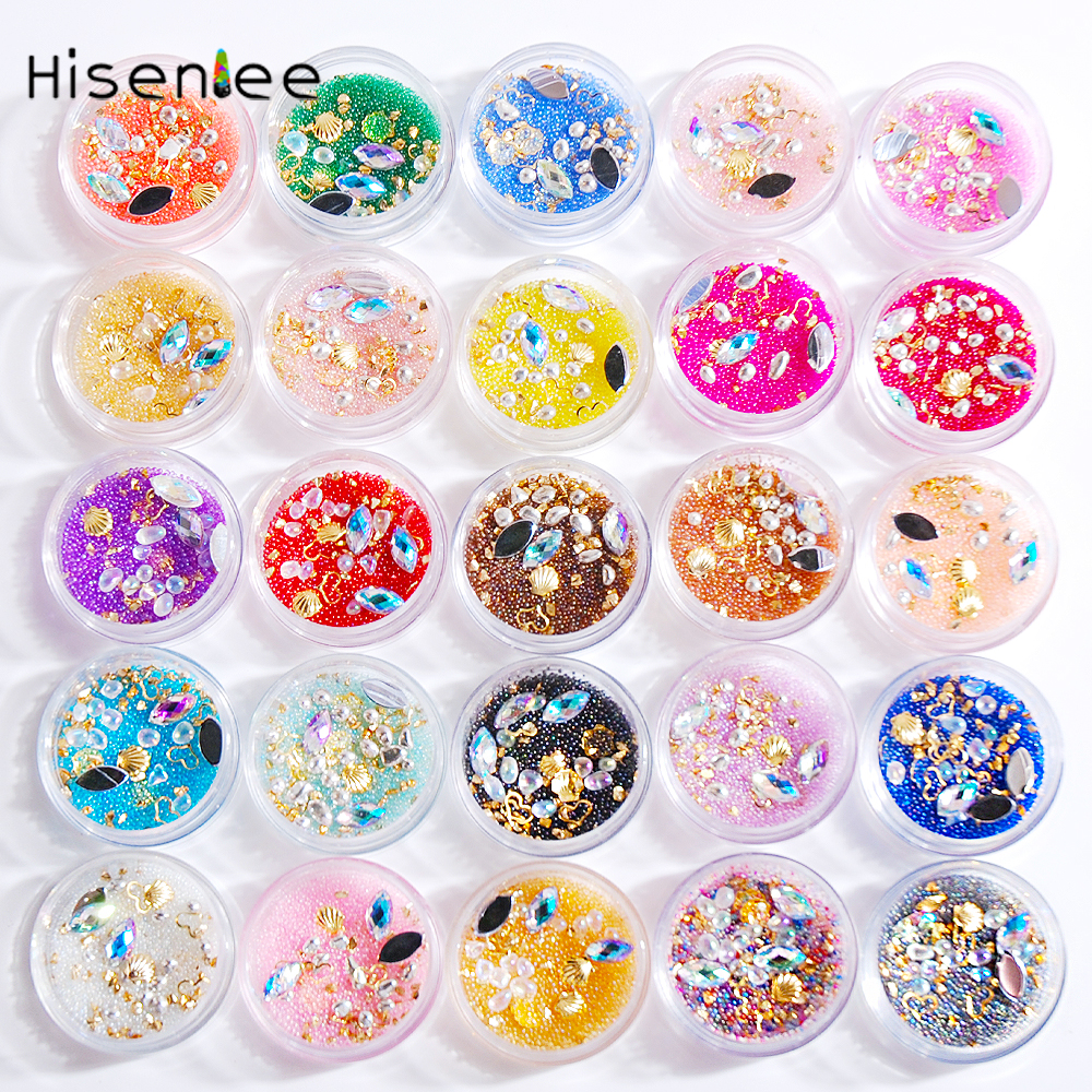 3D Caviar Beads Crystal Combination Metal Ornament Various Small World Nail Art Decoration / Unique / Eye-catching / Punk / Lady