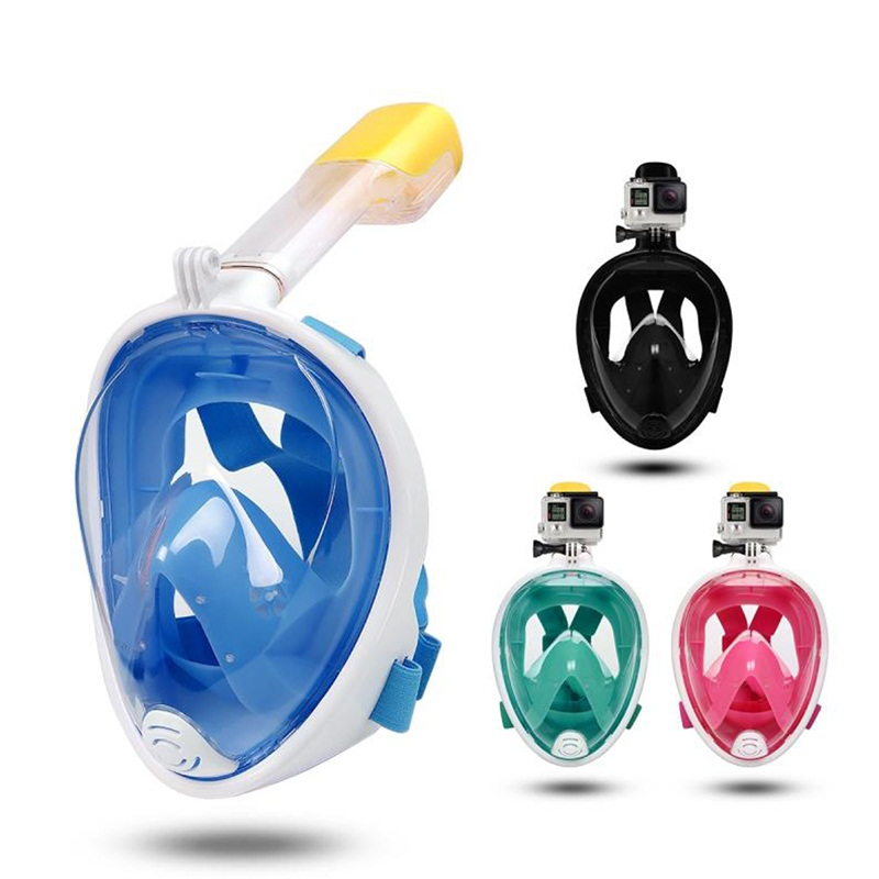 Bumlon masque de plongée à sec complet plongée avec tuba 2 en 1 pour Gopro 180 degrés Tube de plongée à respiration libre à sec pour la plongée 15-0007