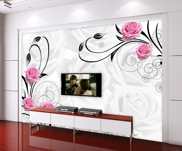 Custom Environmental 3D stereoscopic large mural wall paper sofa TV background fabric wallpaper white abstract  roses авто на аукционе украина