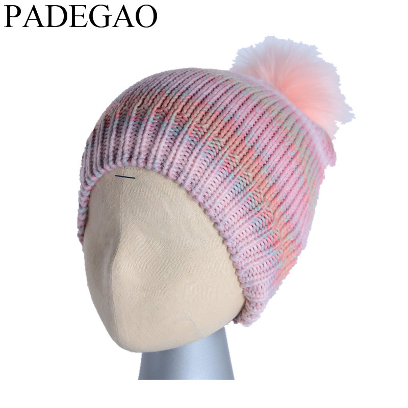 ball cap poms  winter hat for women girl 's hat knitted beanies cap brand new thick female cap cute ball top winter hat for women girl s hat casual gorros bonnet knitted cap beanies cap female thick cap brand new fashion