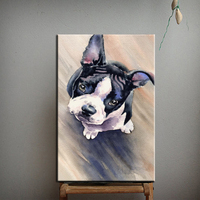 Factory Supply Abstract Modern Cute Animals Oil Painting On Canvas Handmade Lovely Dog Oil Painting Hangs On Wall Decoration
