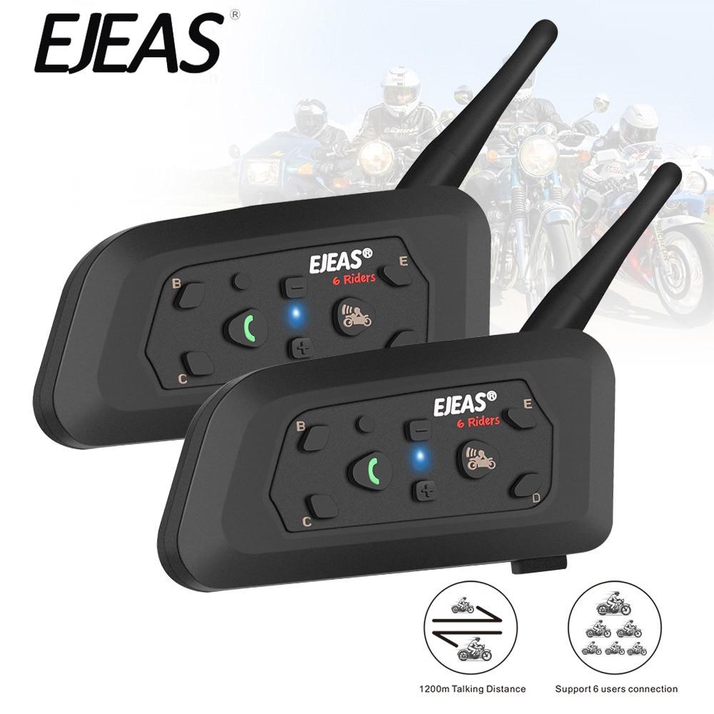 V6 Intercom Motorrad Bluetooth Helm Headsets 850mAh Mikrofon MP3 1200m Sprechanlage Für 6 Fahrer 2PCS Wireless Intercom moto