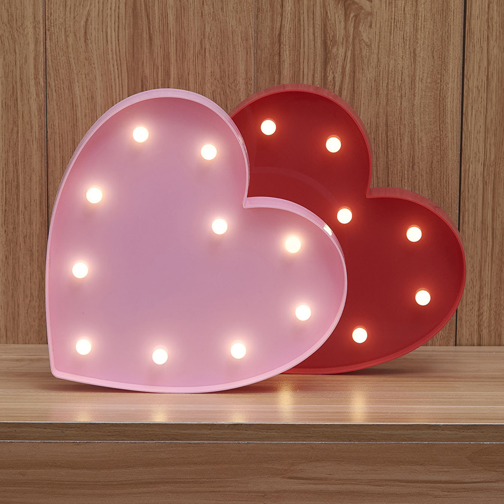 3 Colors Heart Shaped Love Fairy Night Light Abs Plastic