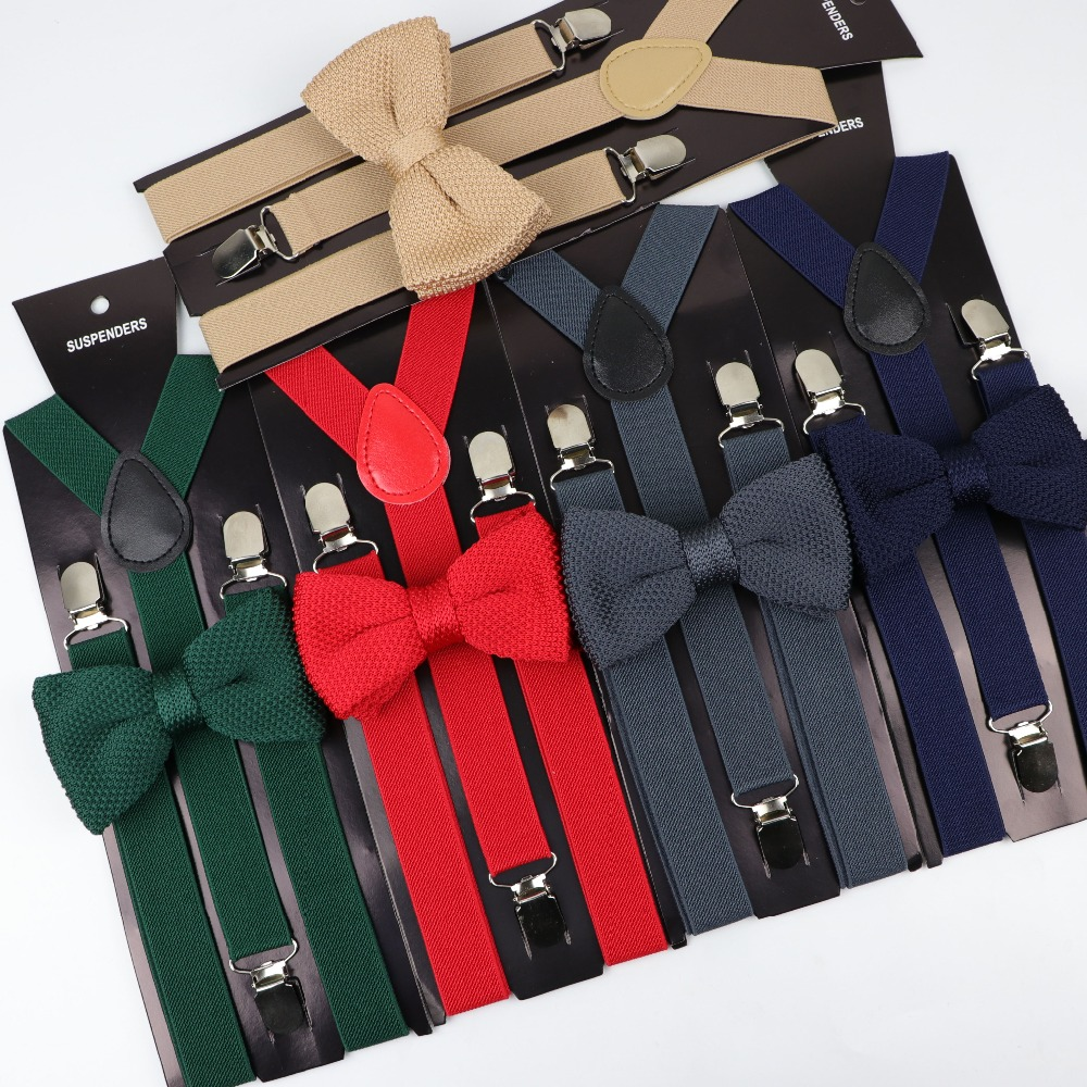 Soild Color Man Belt Knitted Bow Tie Set Woman Men's Suspenders Butterfly Clip-on Y-Back Braces Elastic Women Adjustable