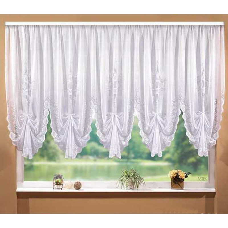 Fashion White Lace Blinds Pleated Design Stitching Curtains for Living Room Bedroom Short Tulle Kitchen Window Valance Curtain