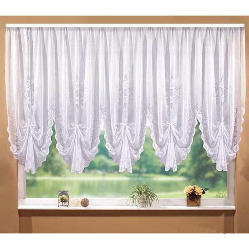 Moda de encaje blanco persianas diseño plisado costura cortinas para ...