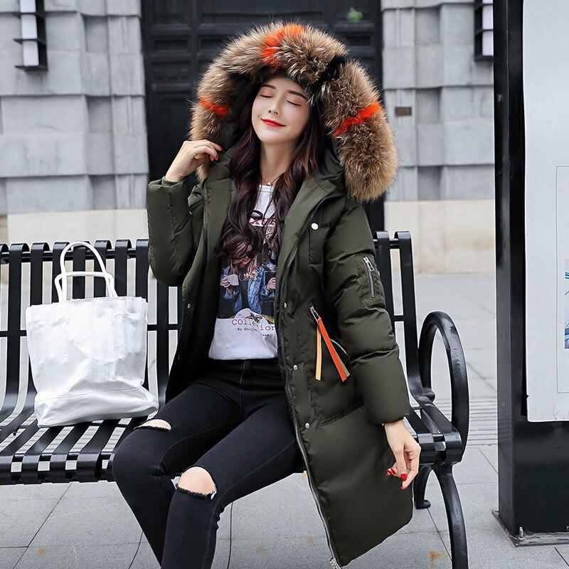 2018 Winter Women Hooded plus size Coat big Fur Collar Warm Long down Jacket women's slim big fur Down Parka Warm Thick outwear