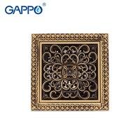 GAPPO Drains Antique Brass Drain Plug Bathtub Shower Drain Bathroom Ground Drains Chrome Plugs