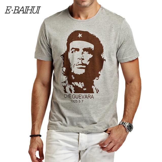 E-BAIHUI CHE GUEVARA Summer O -Neck 3D Print Shirt Cotton