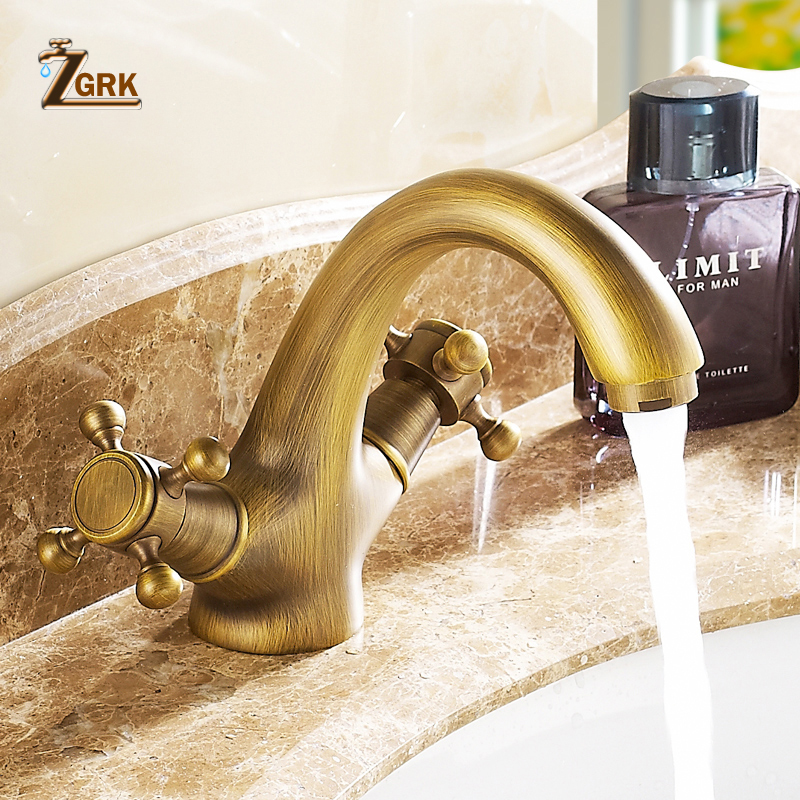 ZGRK Classic Basin Faucet Copper Antique Style Hot And Cold Faucet Dual Holder Single Hole Water