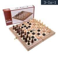 Juego de ajedrez plegable 3 en 1 para adultos, ajedrez magnético Internacional, dados de plástico, regalo de Navidad portátil