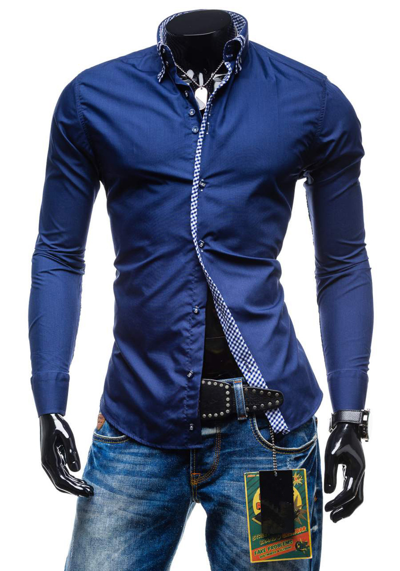 2019 Spring New Double Collar Slim Fit Male Shirt Solid Long Sleeve British Style Cotton Men's Shirt