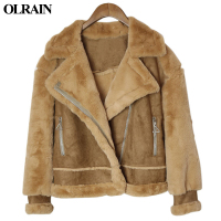 Olrain 2017 Winter New Fashion Jacket Women Faux Shearling Sheepskin Lamb Wool Locomotive Suede Leather Warm