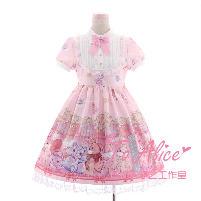 Super Cute claw machine Claw Toy Grabber Bears Fairytale OP Lolita Dress Short Sleeve Fancy Dolly Dress Pink & Violet Лолита