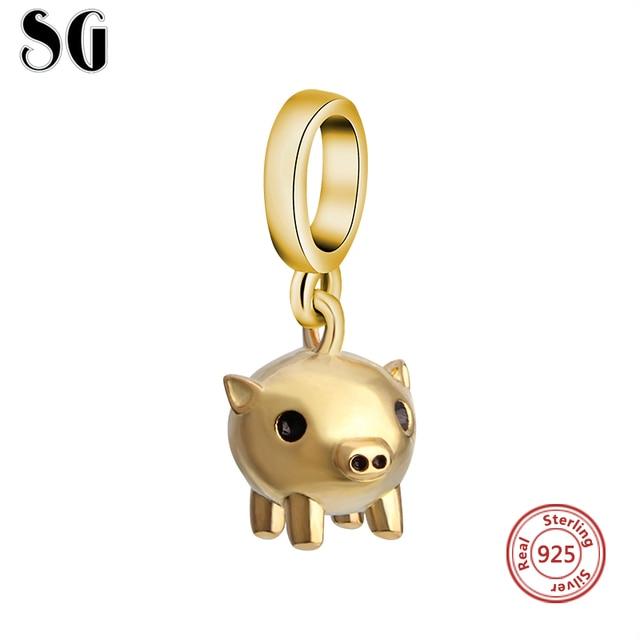 925 Sterling Silver New Style Charme Animal Porco de Ouro Beads Fit pandora Autêntica Pulseiras Pingentes de Jóias para as mulheres Presentes