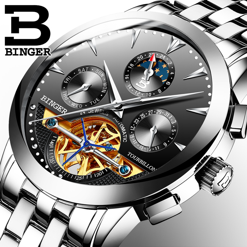 Genuine Luxury BINGER Brand Men Self-wind waterproof leather strap automatic mechanical male full steel fashion Tourbillon watch jam tangan pria gold original