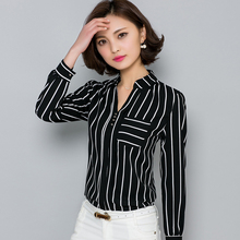 2016 Autumn Korean Striped Chiffon Blouse Fashion V-neck Womens Tops and Blouse Femme Casual Slim Ladies Office Shirts