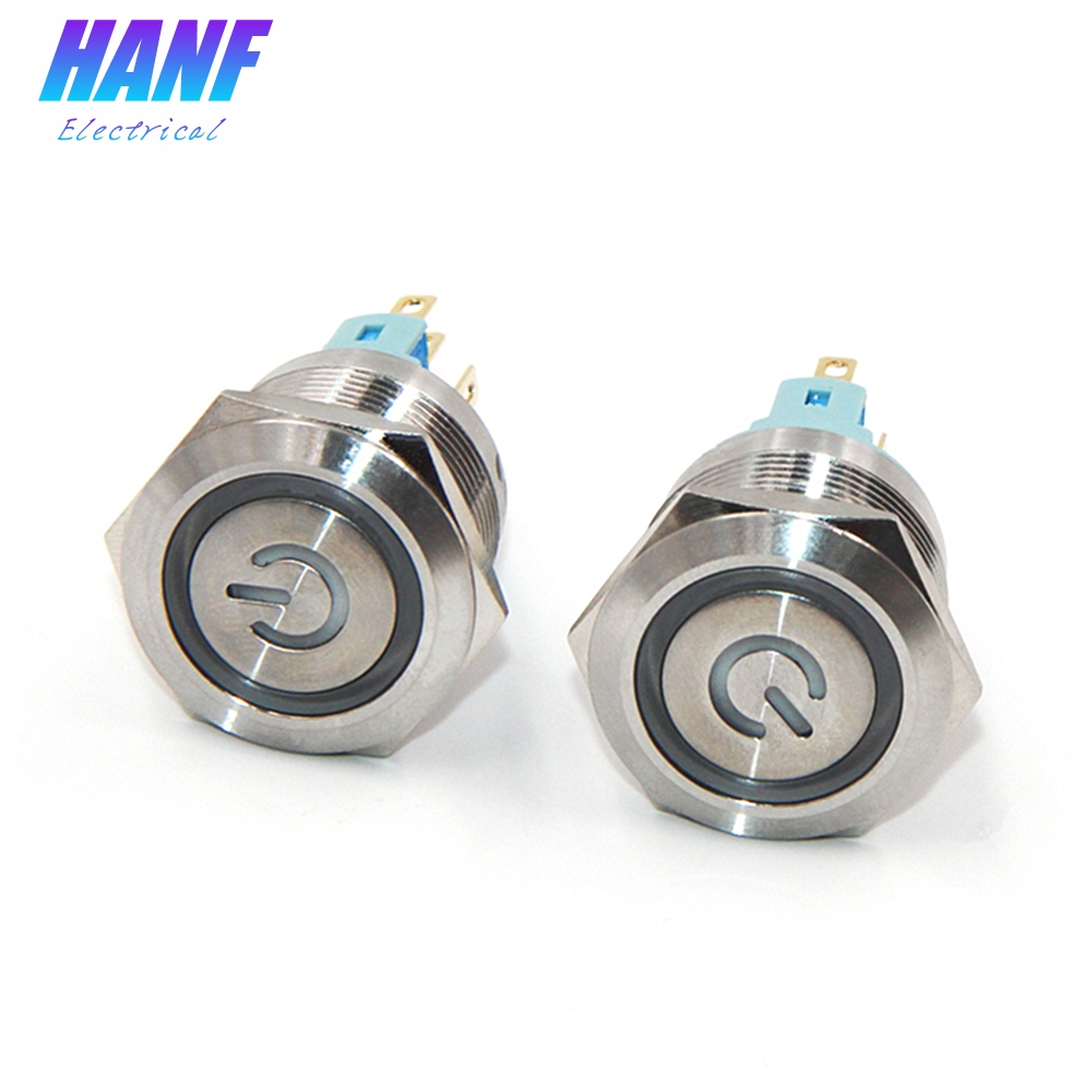 1pcs 22mm 1NONC 2A/220V Flat Head Self-latching Metal Push Button Switch With LED lamp Pin 6 Terminals