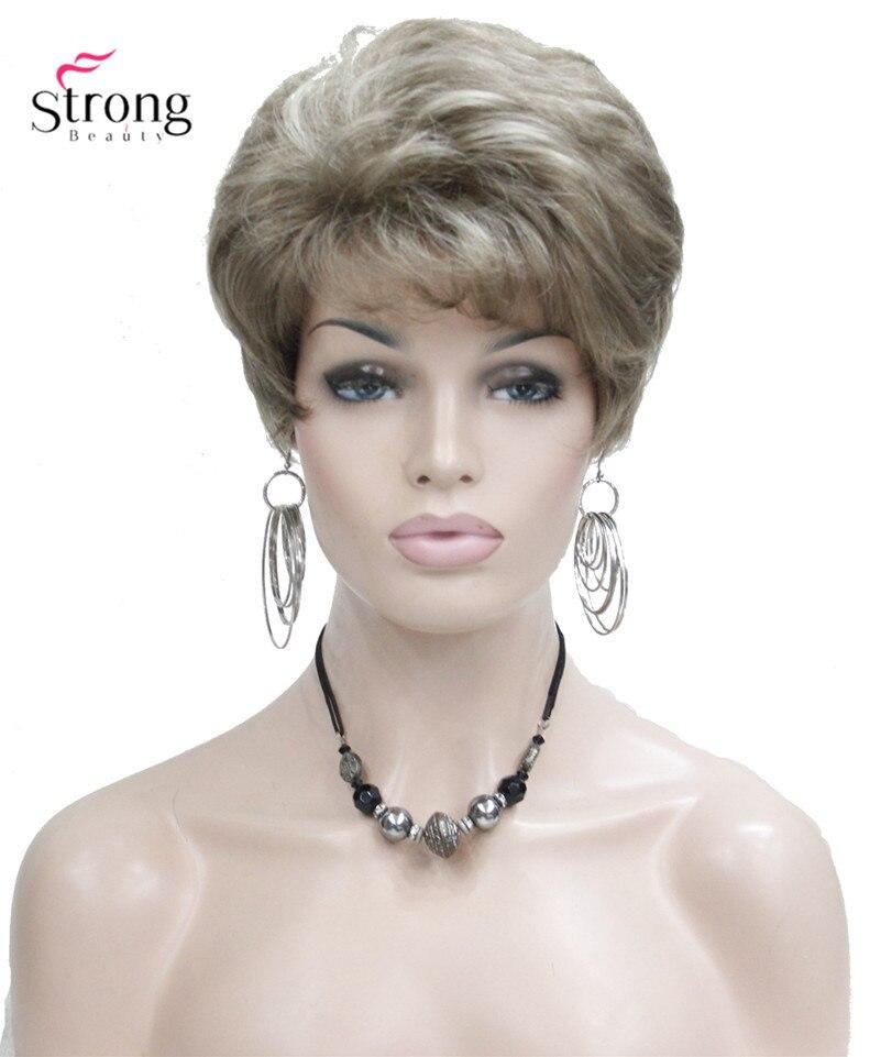 Dame Frauen Kurze Welle Syntheic Haar Perücke Blonde mit Highlights perücken Farbe Für wählen