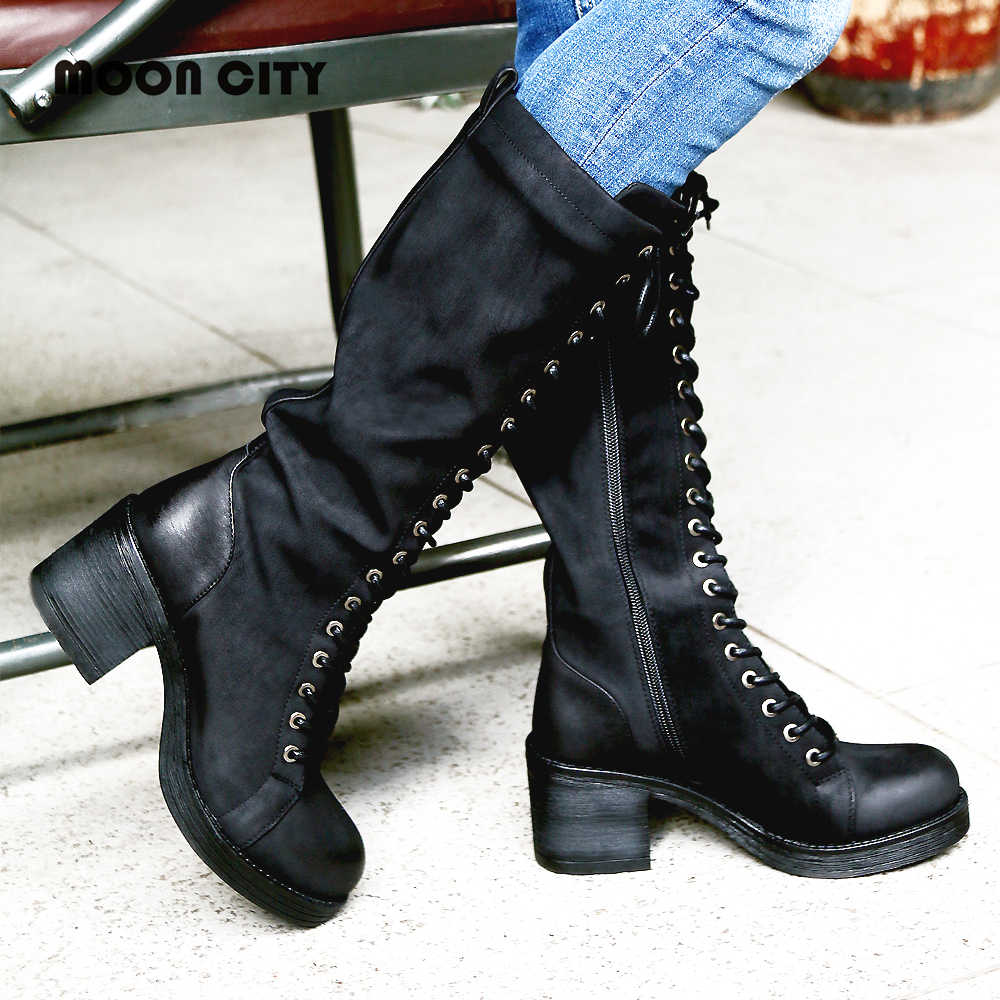 0cc4555bf64 Women s Boots Winter Black Motorcycle Boots Femme Buckle Lace Up Cross Tied  Riding Knee High Long