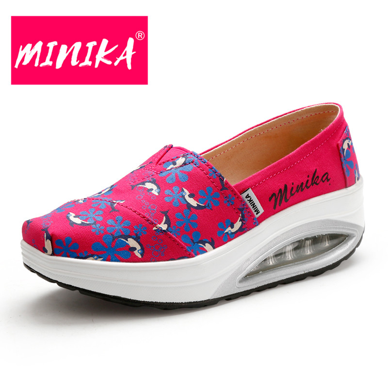 MINIKA Print Flowers Breathable Women Loafers Weight Lose Shallow Mouth Casual Shoes Women Healthable Slip On Shoes For Women minika women shoes summer flats breathable lace loafers platform wedges lose weight creepers platform slip on shoes woman cd41