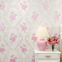 цены Country 3D Florals Wall Paper Roll Modern Wallpaper Embossed Textured Flowers Home Decoration