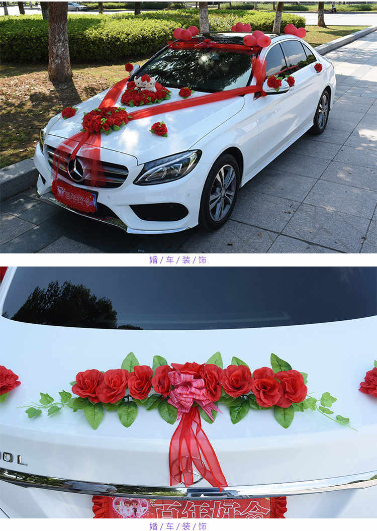 Car Decoration Weding Wedding Car Decoration Silk Flowers With Bear Wedding Car Fake Rose Flowers Garland Decoration Wedding Centerpieces Wreath