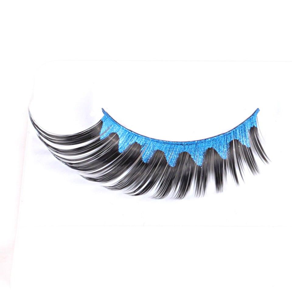 2 пары Крылатый цвет: черный, синий полный газа Ресницы, длинные ручной работы накладные ресницы для Вечеринка макияж es-07-blue