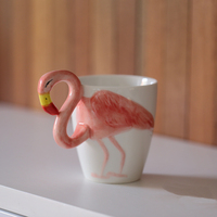 Ins 3D Animals Three dimensional Coffee Cups Ceramic Drinkware Personality Modeling Mugs Fashionable People Liked Flamingo Cup