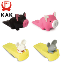 цена на KAK Cartoon Creative Silicone Door Stopper Cute Children Baby Toys Door Stops Holder Safety For Kids Room Furniture Hardware