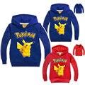 Pokemon Sudaderas hoodies de las muchachas ropa Más de color niños ropa cartoon Pikachu estilo tops casuales 1 unids
