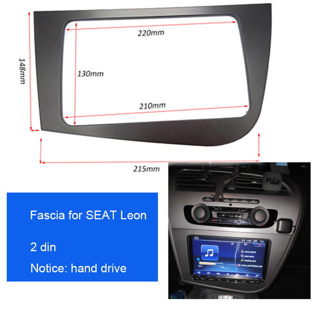 Double 2 DIN Car Stereo Radio Head Unit GPS Navigation plate panel Frame Fascias for 2005 2011 Seat Leon left right hand driving
