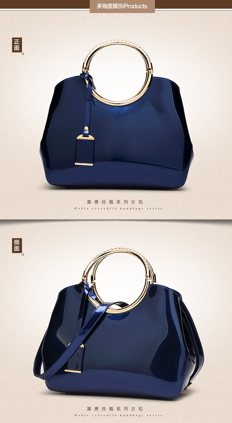 Promotion of new women's bags,Patent Leather Women Bag Ladies Cross Body Shoulder Bags Handbags Blue one size 35