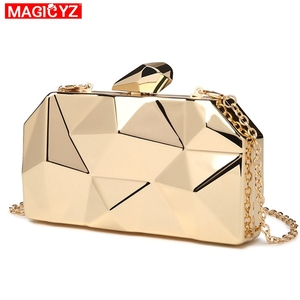 Image 2 - MAGICYZ Gold Acrylic Box Geometry Clutch Evening Bag Elegent Chain Women Handbag For Party Shoulder Bag For Wedding/Dating/Party